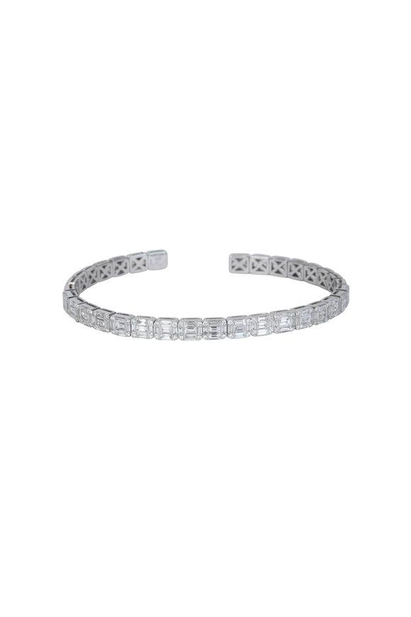 Kai Linz 18K White Gold Diamond Baguette Flex Bangle