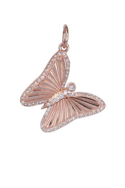 Kai Linz - 14K Rose Gold Diamond Butterfly Charm