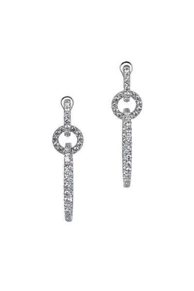 Kai Linz - 18K White Gold Triple Diamond Drop Hoop Earrings
