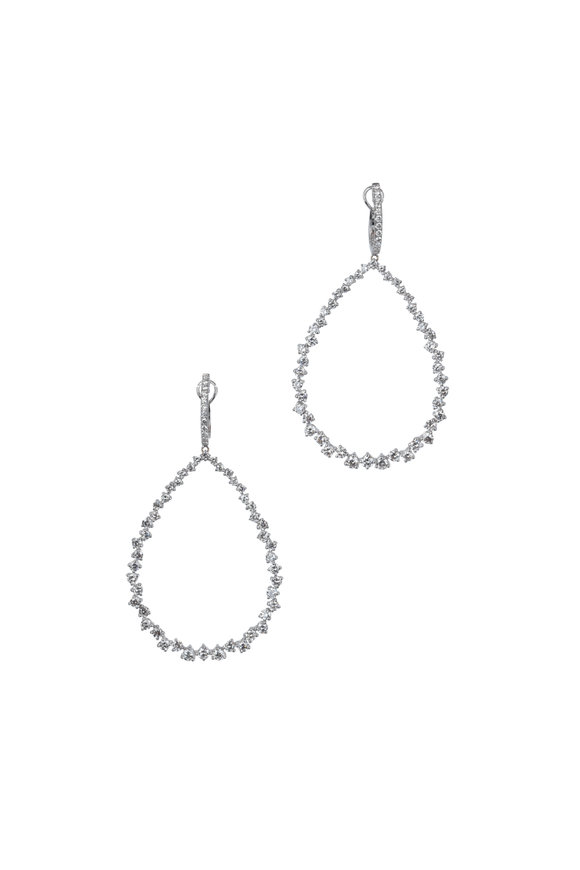 Kai Linz 18K White Gold Large Teardrop Hoop Earrings