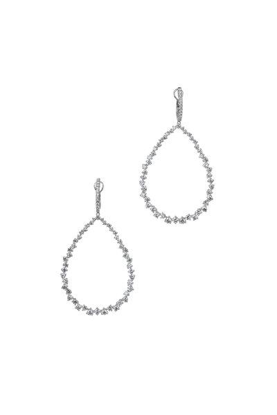 Kai Linz - 18K White Gold Large Teardrop Hoop Earrings