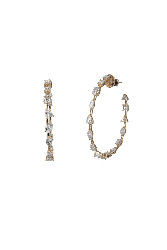 Kai Linz 18K Yellow Gold Diamond Open Hoop Earrings