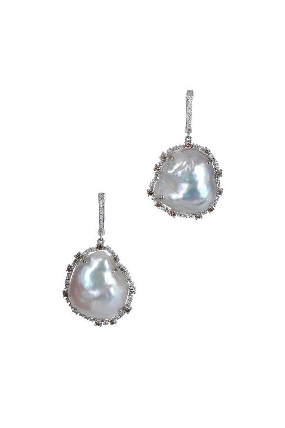 Kai Linz 14K White Gold Diamond Halo Pearl Drop Earrings