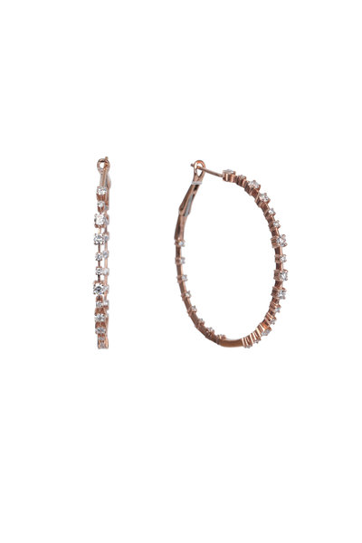 Kai Linz - 14K Rose Gold Zoe Diamond Hoop Earrings