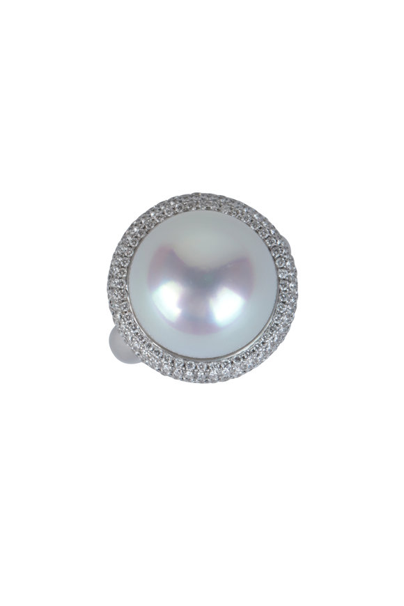 Frank Ancona 18K White Gold Pavé South Sea Pearl Ring