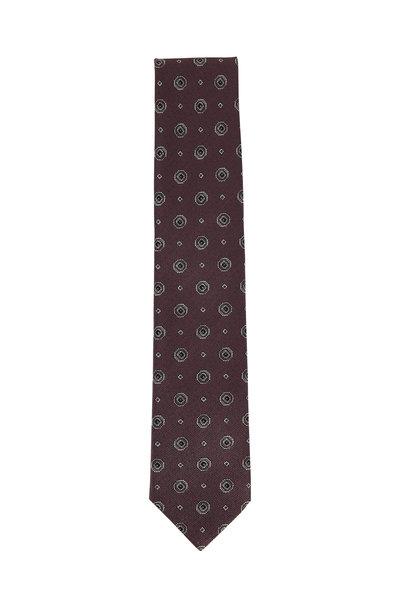 Brioni - Brown Medallion Silk Necktie