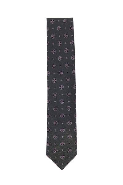 Brioni - Olive Green Medallion Silk Necktie
