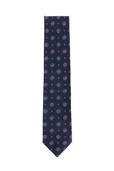 Brioni - Navy Blue Medallion Silk Necktie