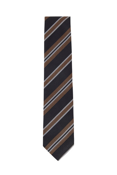 Brioni - Gray & Brown Striped Silk Necktie
