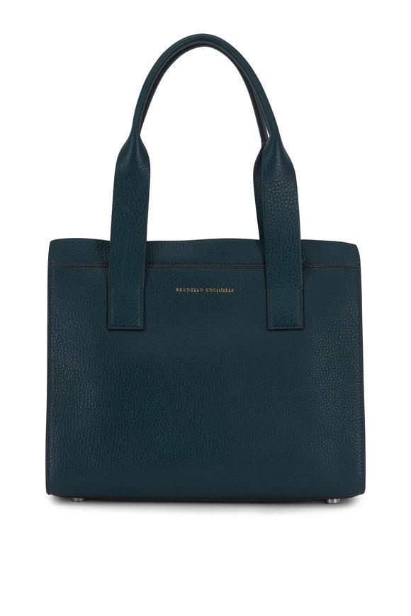 Brunello Cucinelli Lagoon Leather Monili Trim Small City Bag