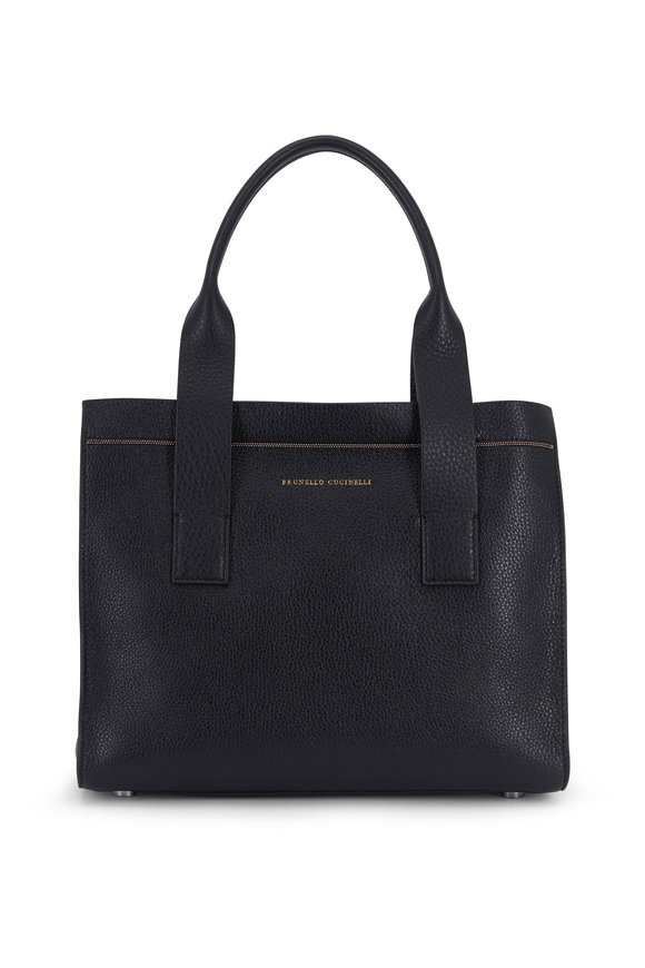 Brunello Cucinelli Exclusively Ours! Black Leather Small City Bag