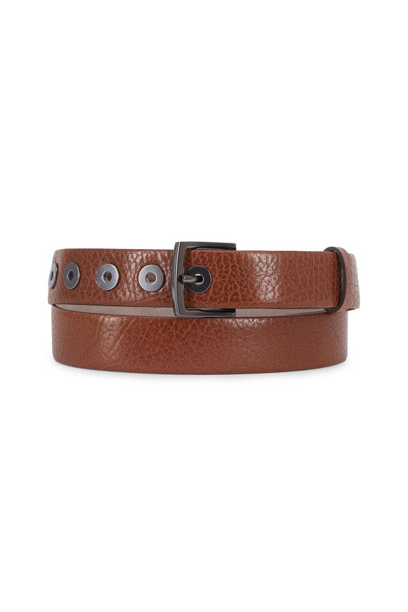 Brunello Cucinelli Cinnamon Textured Leather Grommet Belt