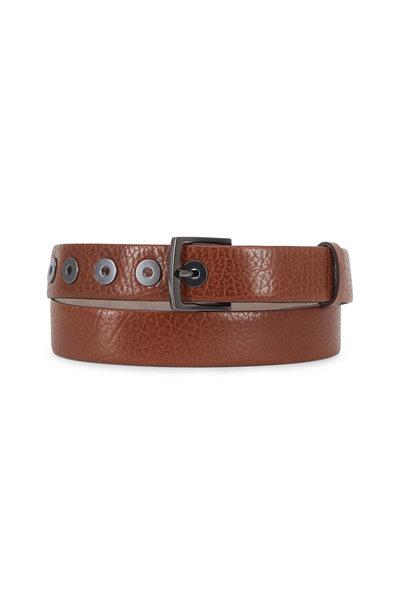 Brunello Cucinelli - Cinnamon Textured Leather Grommet Belt