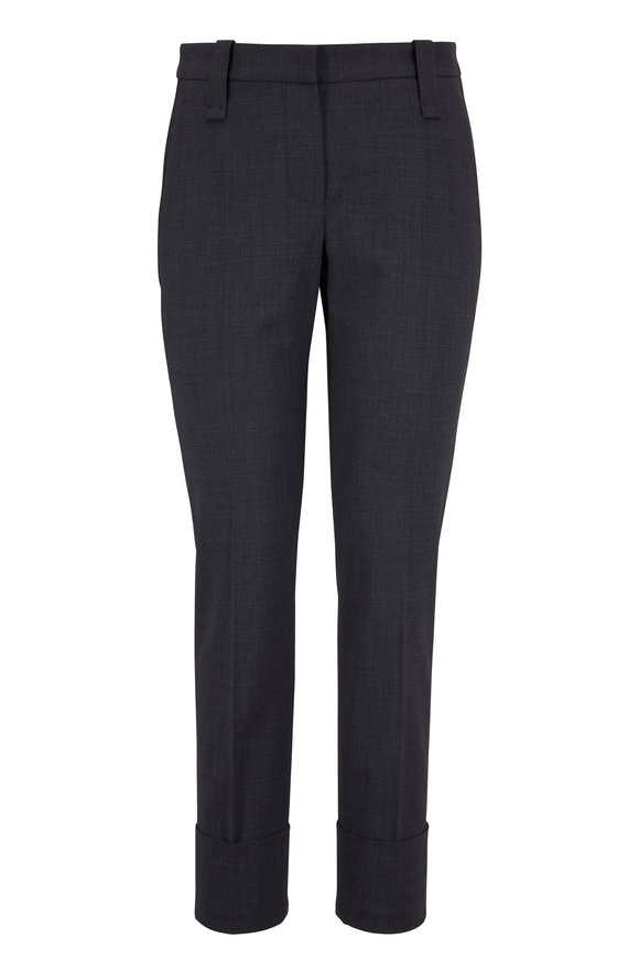 Brunello Cucinelli Medium Gray Cuffed Stretch Wool Ankle Pant