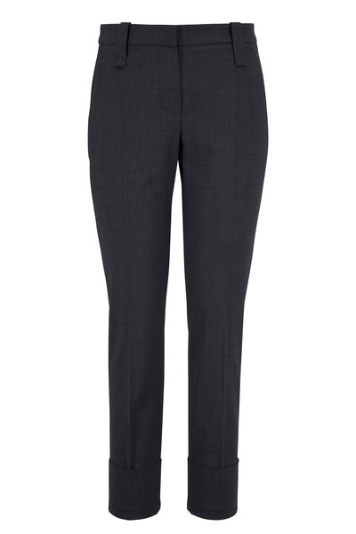 Brunello Cucinelli - Exclusively Ours! Medium Gray Cuffed Ankle Pant