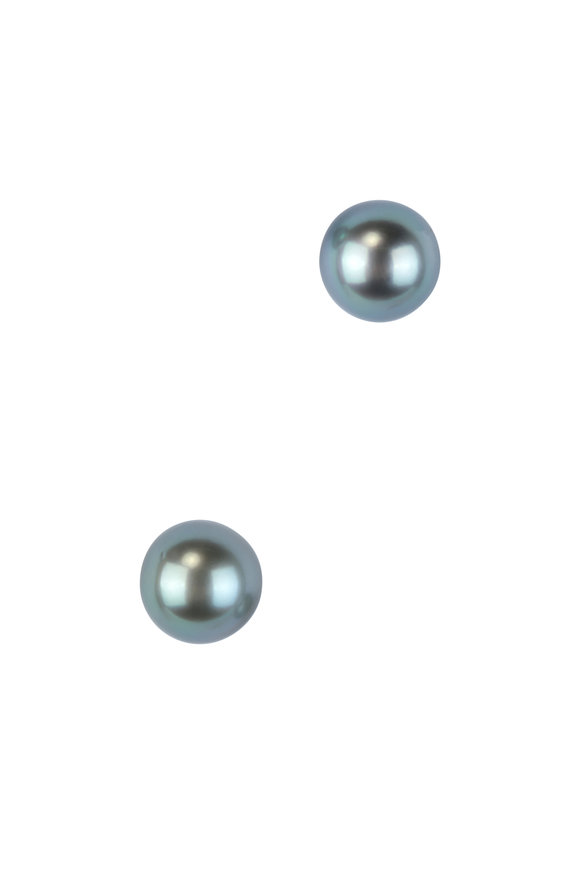 Frank Ancona 18K Gold Gray Tahitian Pearl Stud Earrings