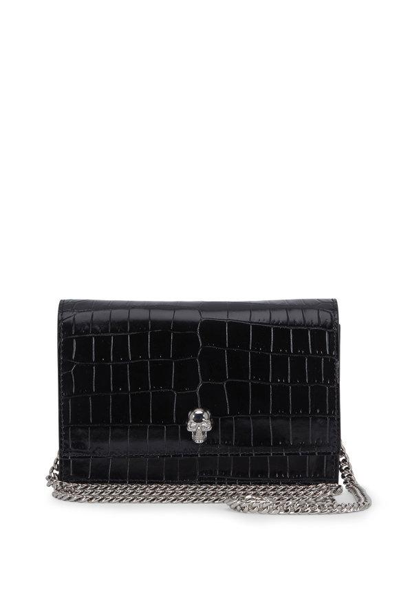 Alexander McQueen Black Croc Embossed Leather Mini Skull Bag