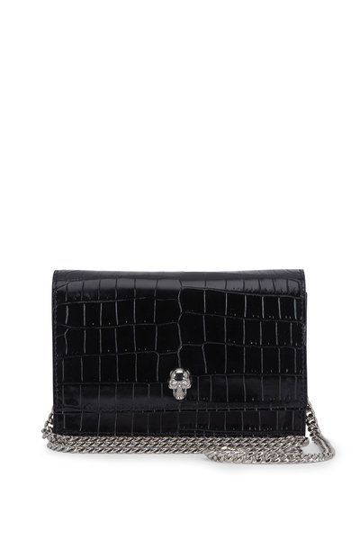 Alexander McQueen - Black Croc Embossed Leather Mini Skull Bag