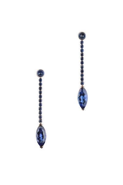 Frank Ancona - 18K White Gold Sapphire & Tanzanite Earrings