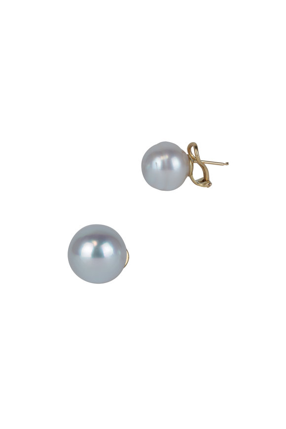 Frank Ancona White South Sea Pearl Clip-On Earrings