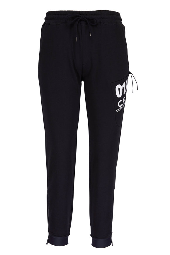 CP Company Black Logo Ankle Zip Sweat Pant