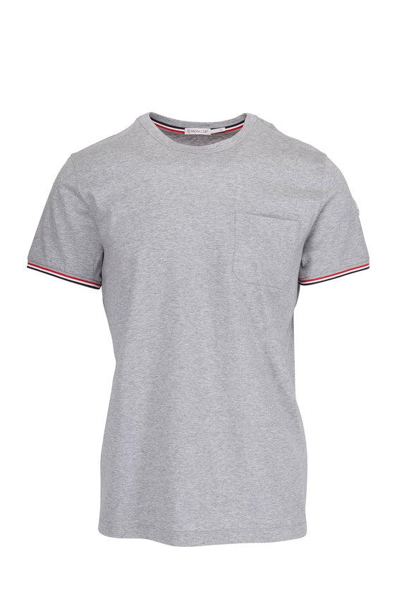 Moncler Gray Striped Trim Pocket T-Shirt