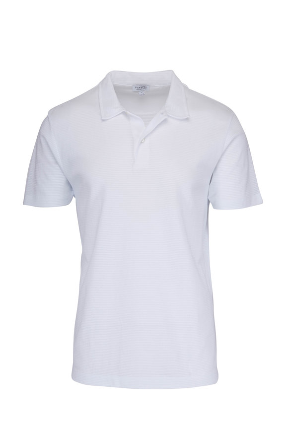 Sunspel White Cellular Cotton Polo