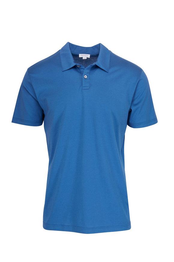 Sunspel Mid Indigo Cotton Jersey Polo