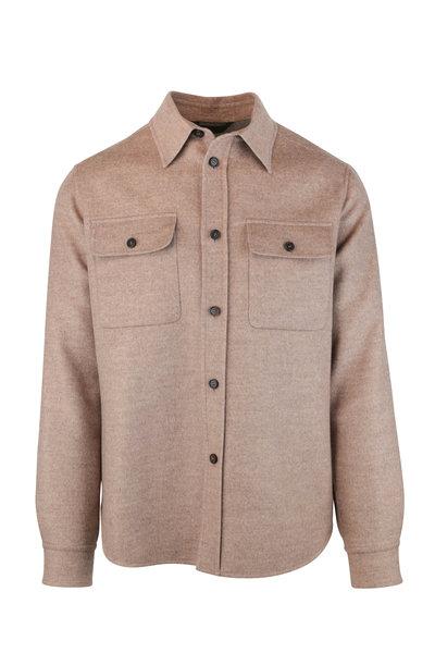Brioni - Beige Wool & Cashmere Overshirt