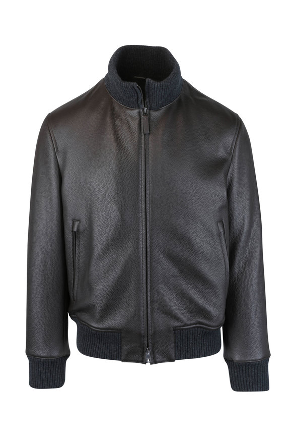 Brioni Brown Leather Bomber Jacket