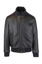 Brioni - Brown Leather Bomber Jacket