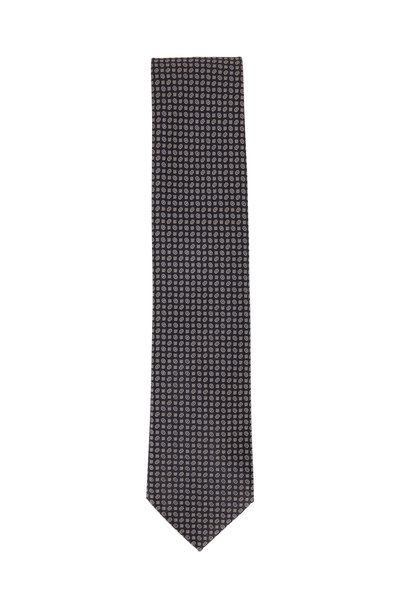 Brioni - Midnight Silk Geometric Necktie