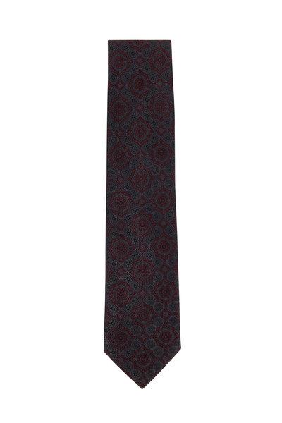 Brioni - Graphite & Burgundy Silk Medallion Necktie