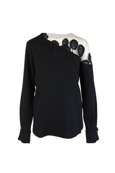 Oscar de la Renta - Black Leaf Embroidered Stretch Silk Blouse