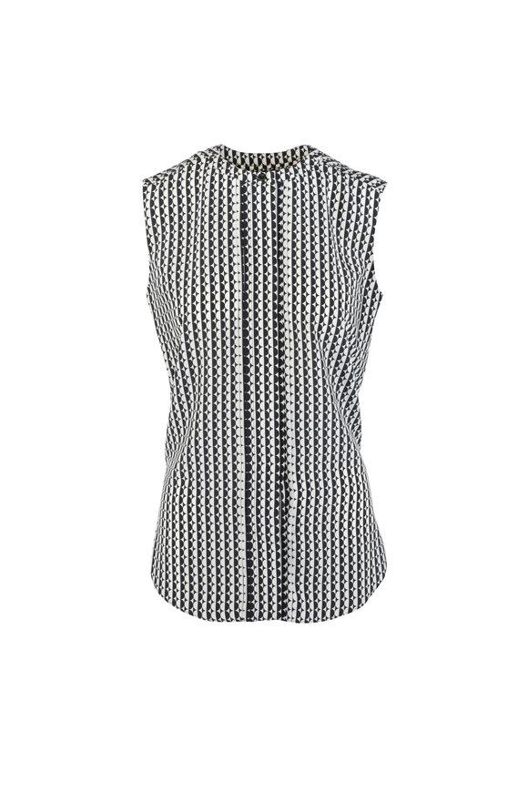 8591b611687880 Oscar de la Renta Black & Beige Silk Geometric Print Blouse