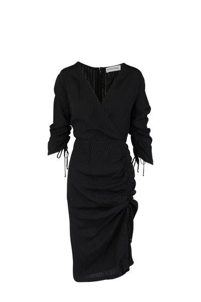 Altuzarra - Oriana Black Open Weave Striped Wrap Dress