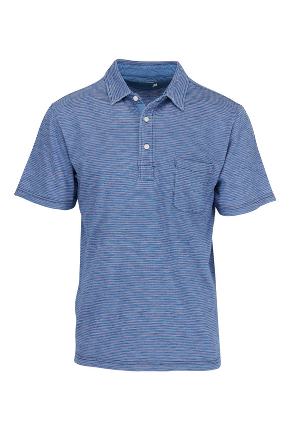 Faherty Brand Indigo Coral Feeder Striped Polo