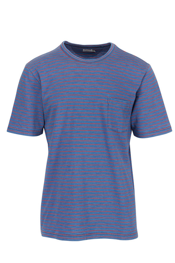 Faherty Brand Medium Indigo Red Striped Pocket T-Shirt