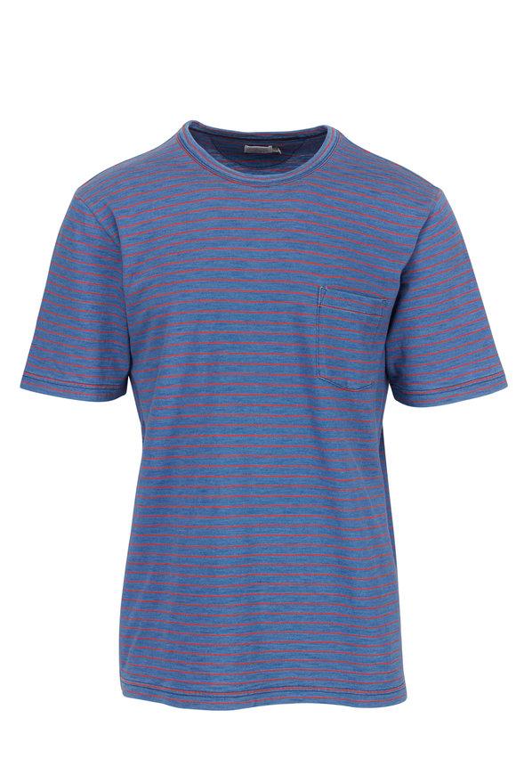 Faherty Brand Medium Indigo Red Striped Pocket T-Shirt
