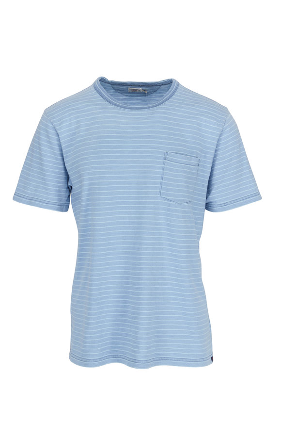 Faherty Brand Medium Indigo Teal Striped Pocket T-Shirt
