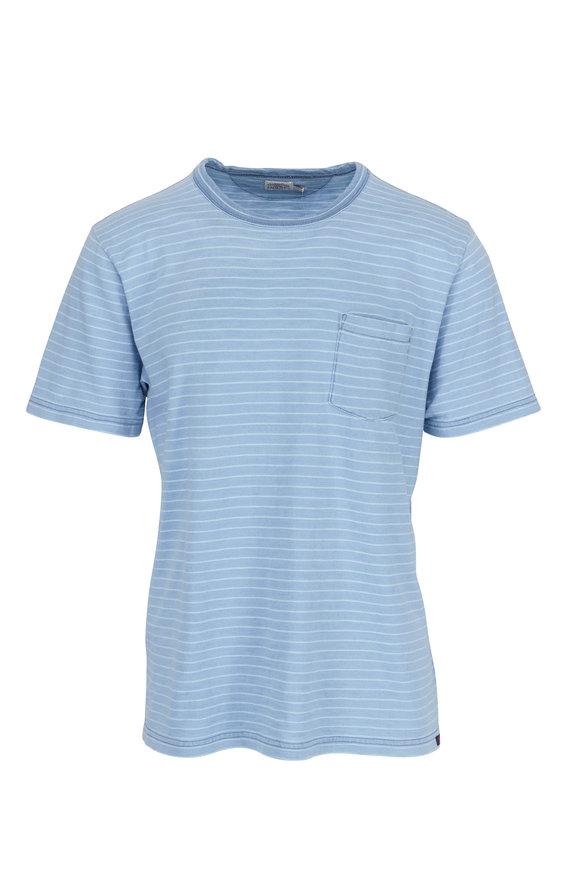 Faherty Brand Medium Indigo Teal Striped Pocket T-Shirt