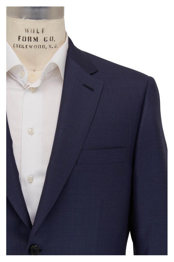 Brioni  Navy Blue Sharkskin Wool Suit