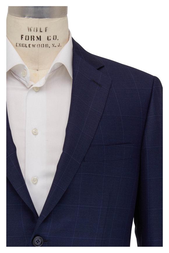 Brioni Navy Blue Windowpane Wool Suit