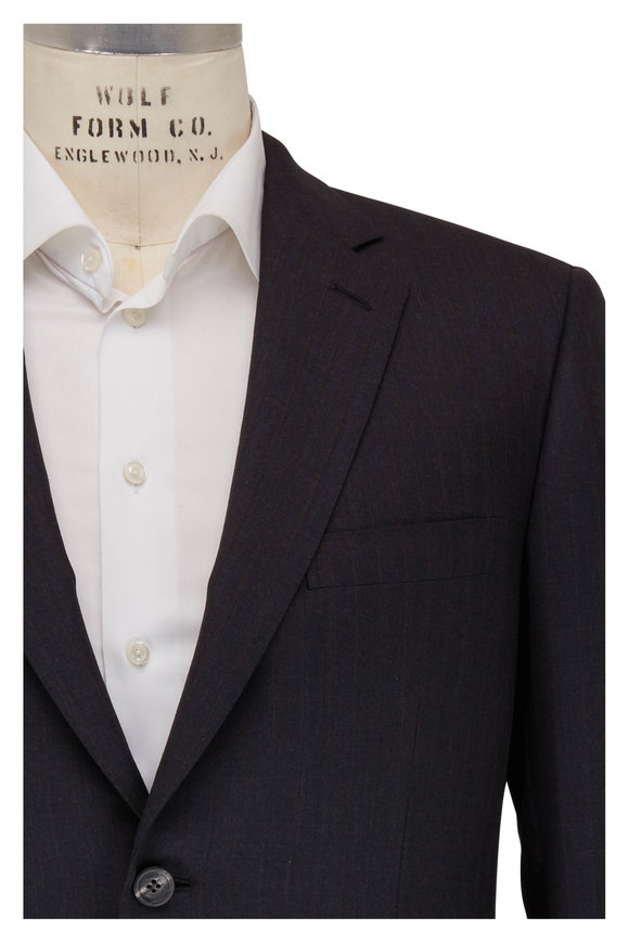 Brioni Charcoal Gray Wool Striped Suit
