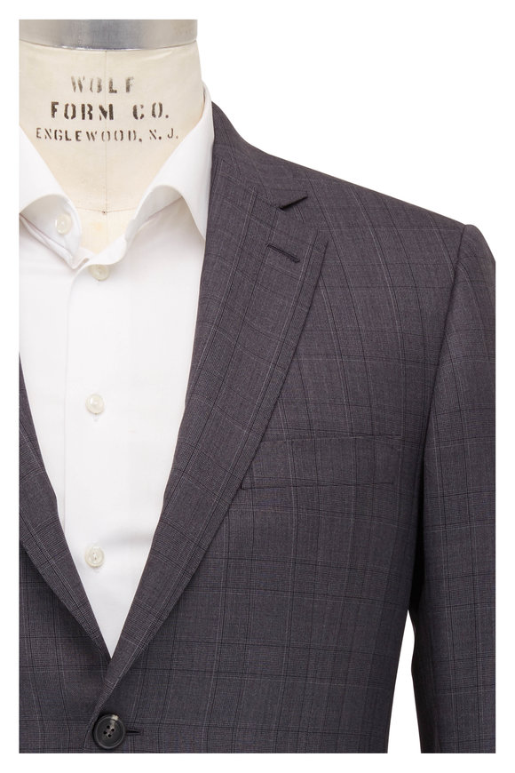 Brioni Charcoal Gray Wool Plaid Suit