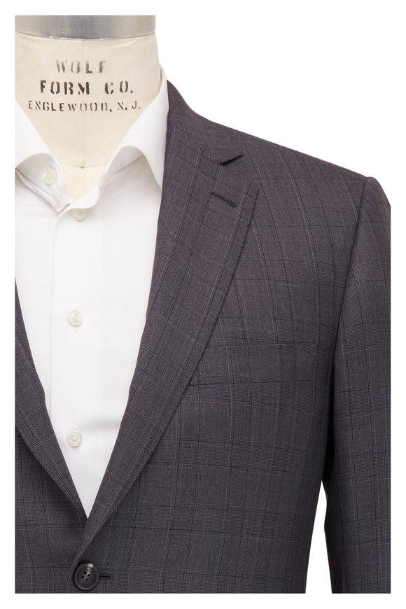Brioni Charcoal Gray Wool Plaid Suit