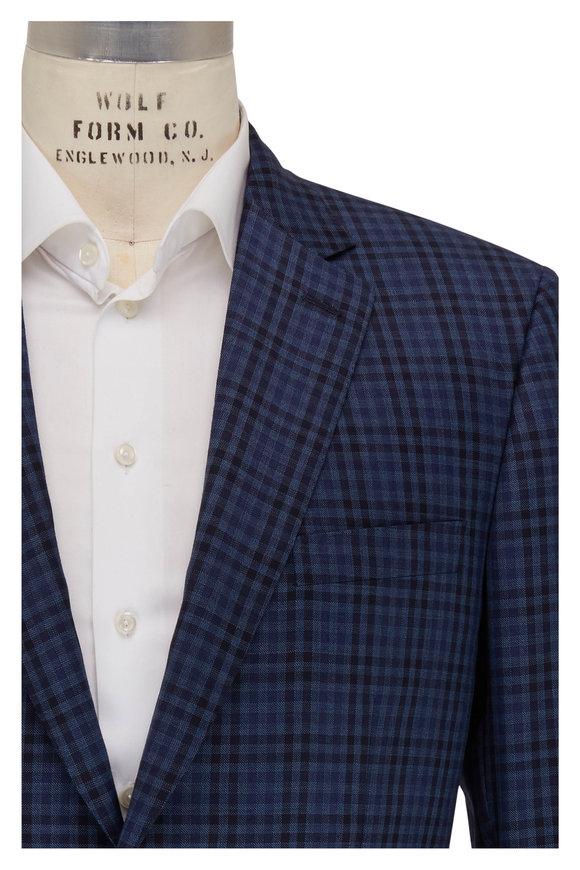 Brioni Navy Blue Tonal Plaid Wool Sportcoat