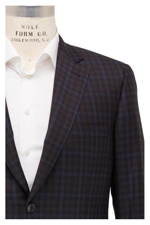 Brioni Black, Blue & Brown Plaid Wool Sportcoat