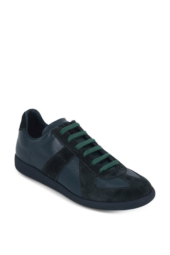 Maison Margiela Replica Hunter Green Leather & Suede Sneaker
