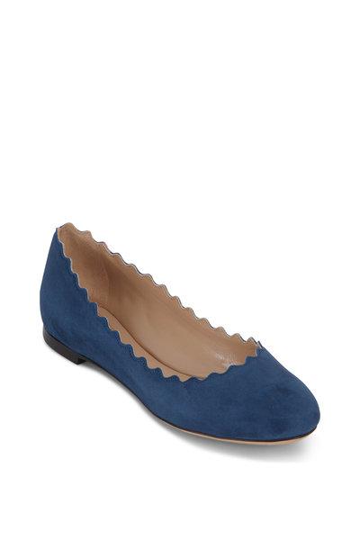 Chloé - Lauren Majolica Blue Suede Scallop Flat